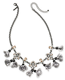 "I.N.C. Black-Tone Crystal, Stone & Fabric Flower Statement Necklace, 18"" + 3"" extender, Created for Macy's"