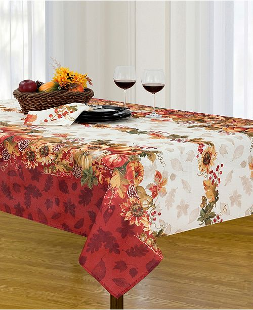 Elrene Swaying Leaves Double Border Tablecloth Collection