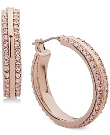 "DKNY Small Rose-Gold Pavé Hoop Earrings 1"", Created for Macy's"