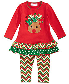 Bonnie Baby Baby Girls 2-Pc. Reindeer Tunic & Leggings Set