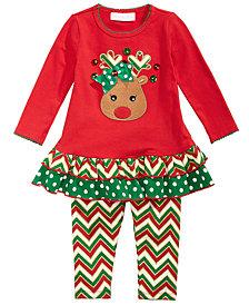 Bonnie Baby Baby Girls 2-Pc. Reindeer Tunic & Leggings Set