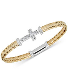 Diamond East-West Cross Braided Mesh Bangle Bracelet (1/5 ct. t.w.) in Sterling Silver & 14k Gold-Plate
