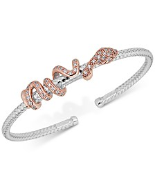 Diamond Snake Bracelet (1/3 ct. t.w.) in Sterling Silver & 14k Rose Gold-Plate