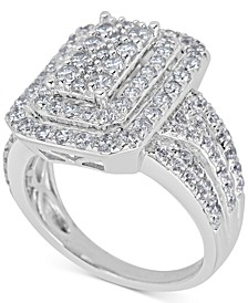 Diamond Step Cluster Engagement Ring (2 ct. t.w.) in 14k White Gold