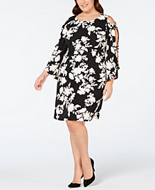 MSK Plus Size Printed Bow-Sleeve Dress
