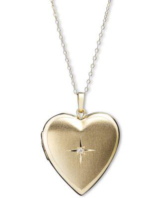 14k Gold Necklace, Diamond Accent Reversible Heart Locket