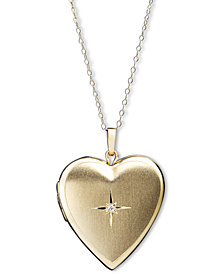 14k Gold Necklace, Diamond Accent Reversible Heart Locket