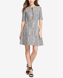 DKNY Printed Zip-Neck Fit & Flare Dress, Created for Macy's