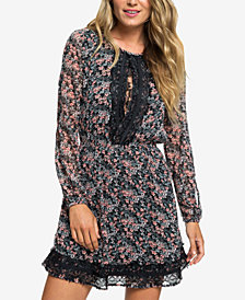 Roxy Side of Motion Moss Lace-Trim Dress