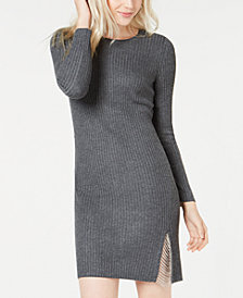Bar III Slit Chain Sweater Dress, Created for Macy's