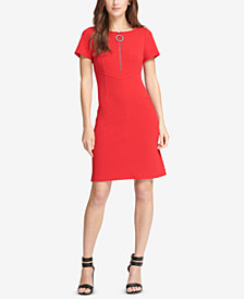 DKNY Zip-Front Fit & Flare Dress, Created for Macy's