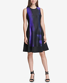 DKNY Printed Sleeveless Fit & Flare Dress, Created for Macy's