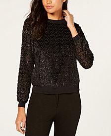 Trina Turk Metallic Shag Sweatshirt