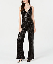 Emerald Sundae Juniors' Sequined Jumpsuit