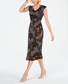 Connected Petite Cowl-Neck Printed Midi Dress