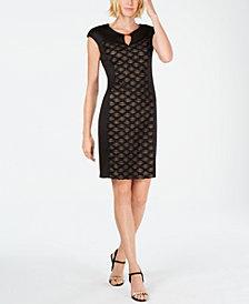 Connected Petite Glitter Keyhole Sheath Dress