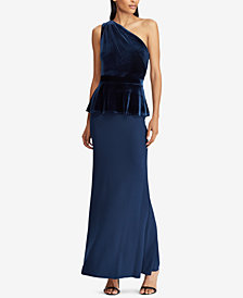 Lauren Ralph Lauren Velvet-Trim One-Shoulder Gown