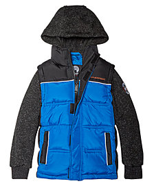 Weatherproof Toddler Boys Layered-Look Hooded Puffer Jacket