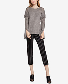 BCBGeneration Cotton Fringe-Trim Sweater