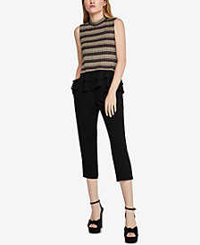 BCBGeneration Mock-Neck Ruffle-Hem Top