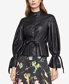 BCBGMAXAZRIA Faux-Leather Pleated-Sleeve Jacket