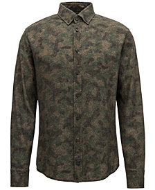 BOSS Men's Slim-Fit Camouflage Cotton Shirt
