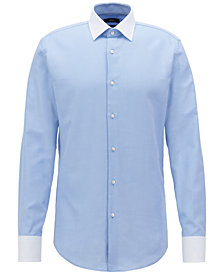 BOSS Men's Slim-Fit Contrast Cotton Shirt