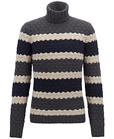 BOSS Men's Striped Turtleneck Sweater