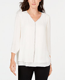 JM Collection Jeweled Tiered-Hem Blouse, Created for Macy's