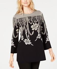 Alfani Floral Jacquard Tunic Sweater, Created for Macy's