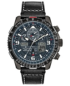 Eco-Drive Men's Analog-Digital Promaster Skyhawk A-T Black Leather Strap Watch 46mm - A Limited Edition