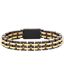 Men's Two-Tone Interlocking Link Bracelet in Black & Yellow Ion-Plated Stainless Steel