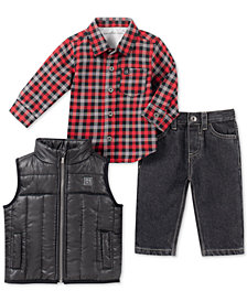 Calvin Klein Baby Boys 3-Pc. Vest, Shirt & Jeans Set