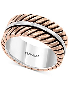 EFFY® Men's Rope-Look Ring in Sterling Silver & 18k Rose Gold-Plate