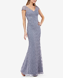 JS Collections Illusion V-Neck Soutache Gown
