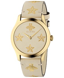 Gucci Unisex Swiss G-Timeless White Leather Strap Watch 38mm