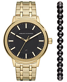 A|X Armani Exchange Men's Maddox Gold-Tone Stainless Steel Bracelet Watch 46mm Box Set