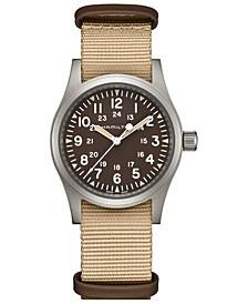 Unisex Swiss Mechanical Khaki Field Beige Nato Strap Watch 38mm