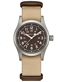 Hamilton Unisex Swiss Mechanical Khaki Field Beige Nato Strap Watch 38mm
