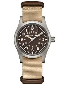 Hamilton Unisex Swiss Mechanical Khaki Field Beige Nato Strap Watch 38mm