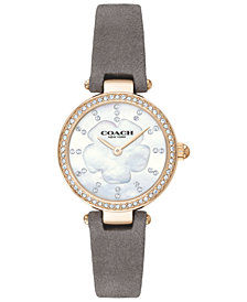 COACH Women's Park Gray Leather Strap Watch 26mm