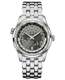 Hamilton Men's Swiss Automatic Jazzmaster GMT World Stainless Steel Bracelet Watch 42mm