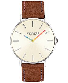 COACH Women's Perry Saddle Leather Strap Watch 36mm Created for Macy's