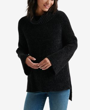 LUCKY BRAND Chenille Cowl Neck Sweater in Lucky Black