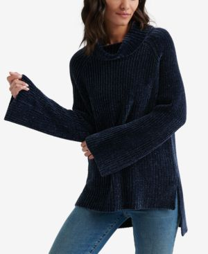 Lucky Brand Chenille Cowl Neck Sweater - Navy