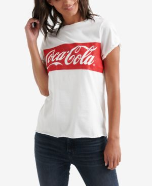 Cotton Coca-Cola Banner T-Shirt in Lucky White