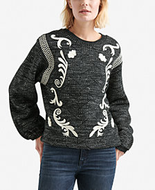 Lucky Brand Scroll-Embroidered Balloon-Sleeve Sweater
