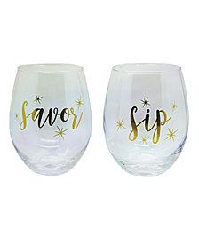 TMD Holdings Savor Sip Stars Luster 2-Pc. Stemless Wine Glasses
