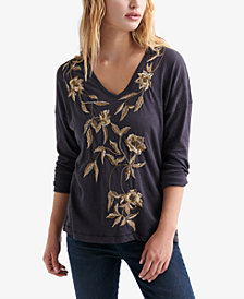 Lucky Brand Cotton Embroidered 3/4-Sleeve Top