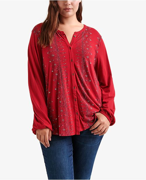 a5a6128443b Lucky Brand Plus Size Button-Up Printed Top - Tops - Plus Sizes - Macy s